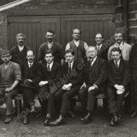 Members of the Cockroft family with some of the workforce at Birks Mill, about 1930.   - MOT00398