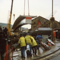 The New Footbridge at Mytholmroyd Being Lowered, 1988 - MOS00235