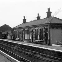 Littleborough Station - 'Down' platform and Goods Shed 1965. - LYR00293