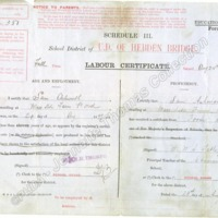 Full Time Labour Certificate for Sam Ashworth, dated 1897 - JET00295