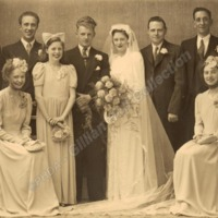 Peggy Greenwood and Philip Longbottom&#039;s wedding party. <br /><br />