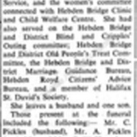 Obituary for Mrs Catherine Pickles - APF00107