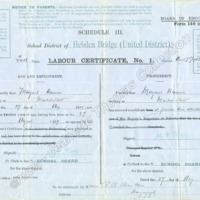 Half Time Labour Certificate for Margaret Harrison,  dated 1907 - JET00291