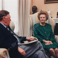Bernard and Lady Thatcher in her Study, June 1995 - ING00124