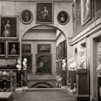Castle Howard, Sculptures and Pictures at Head of Staircase - HLS05762