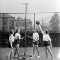 Netball at Central Street School, Hebden Bridge, 1940s - MHA00104