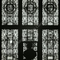 Gilling Castle, detail of Painted glass window - HLS05811